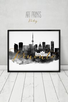 Toronto Print Watercolor Poster Black White Wall Art Canada Skyline Faux Gold Text Travel Home Decor Gift Artprintsvicky By
