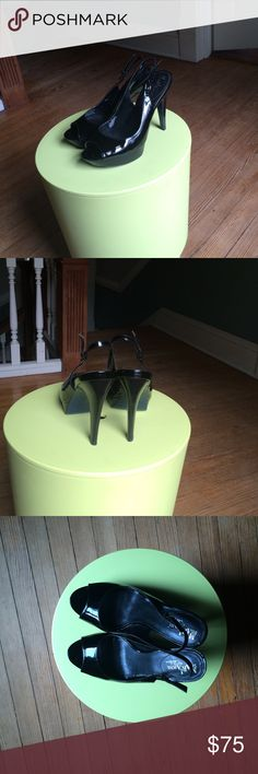 """Cole Haan w/Nike Air technology open toe heels Open toe 4 1/2"""" heel with 1"""" platform. Out of production. Patent leather upper. Leather sole. Good used condition- some wear to inner lining. Cole Haan Shoes Heels"""
