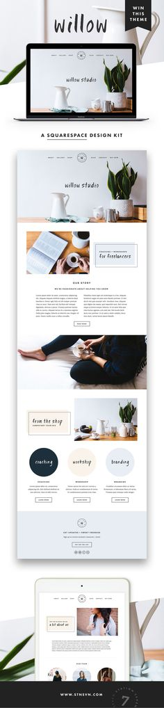GIVEAWAY! Introducing our latest web design for Squarespace, Willow! If you've been thinking about sprucing up your blog or web design, there's no time like the present. Simply follow us @Station Seven | Blogging, Web Design, + Entrepreneur Tips and repin this pin for a chance to win a free download of our new Willow Squarespace kit! Giveaway ends 9/30/2016 :)