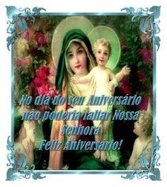 cartões de aniversário católicos com imagem de Maria e Jesus