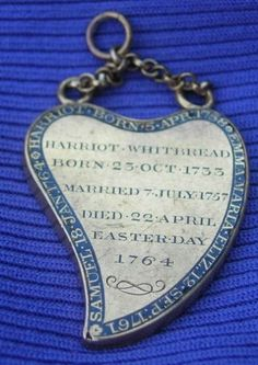 Harriot Whitbread Witch's Heart Pendant, 1764
