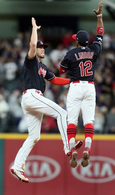 Cleveland Indians Bradley Zimmer and Francisco Lindor celebrate the Indians 6-2 victory over the Cincinnati Reds at Progressive Field, Cleveland, Ohio, on July 24. 2017. (Chuck Crow/The Plain Dealer).