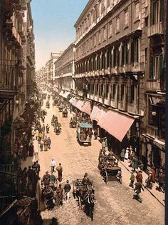 Via Roma, Naples, Italy Here for your consideration is an aesthetic picture of Via Roma, Naples, Italy. This color photochrome print was created between 1890 and 1900 in Naples, Italy.  The photograph presents Via Roma, Naples, Italy.