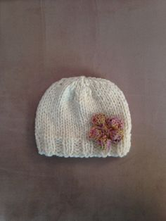 Knit Cream Hat with Flower in Shades of Pink Purple and by MnStyle, $30.00