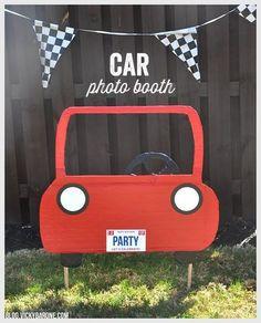 DIY Car Photo Booth   Vicky Barone   Kids race car birthday party ideas