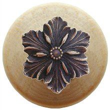 Notting Hill - Opulent Flower Wood Knob in Antique Solid Bronze/Natural wood finish