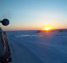 The sun goes down for another night on the ice roads.