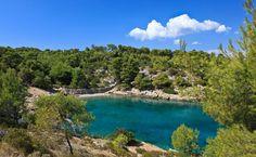 Beautiful gravel bay in Vrboska, Croatia.