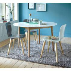 Table ronde EDEN 4 couverts Blanc / bois- Vue 1