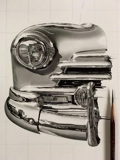 hyper realistic pencil drawings by japanese artist kohei ohmori 6 Highly Detailed Close Ups of Amazing Hyper Realistic Pencil Drawings Car Drawing Pencil, Realistic Pencil Drawings, Hyper Realistic Paintings, Graphite Drawings, Amazing Drawings, Car Drawings, Drawing Sketches, Simple Drawings, Drawing Tips