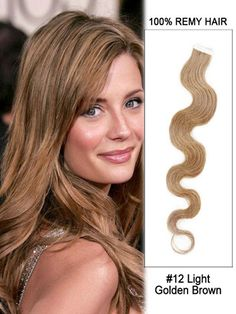 New Long Length 36 Inch Body Wave Indian Human Remy Hair Tape In Extension - Light Golden Brown