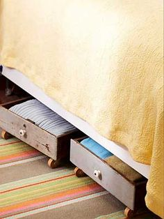 use old drawers to make storage under a bed!