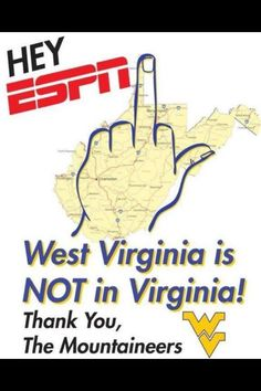 WVU I always use my hand to show what part of WV I'm from...its the thumb, or Eastern Panhandle btw #HampshireCo