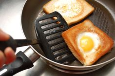 My dad used to make these growing up! Super fun and yummy way to eat eggs Breakfast Time, Breakfast Recipes, Camping Breakfast, Breakfast Ideas, Egg Recipes, Cooking Recipes, Yummy Recipes, Recipies, Kids Meals