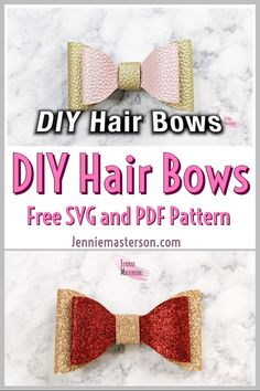 Hair Bow Tutorial: FREE SVG and PDF Pattern Learn how to make some cute hair bows! These hair bows are great for little girls and they are so e Diy Bow, Diy Ribbon, Ribbon Bows, Ribbon Flower, Ribbon Hair, Fabric Flowers, Diy Your Hair, How To Make Hair, How To Make Bows