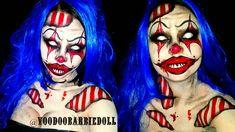 Nightmare Clown | IG @voodoobarbiedoll | Clown Makeup, Circus, Carnival Makeup, Halloween Makeup, Halloween Inspiration, Halloween Costume, Scary Clown, Evil Clown, SFX, Special Effects Makeup, Body paint, Dramatic