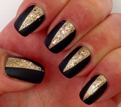 Easy Matte BLACK & GOLD Nails TUTORIAL - YouTube