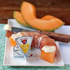 """""""Waking up to a special breakfast doesn't have to be complicated. Simply spread #TheLaughingCow Creamy Asiago on sliced cantaloupe and wrap with prosciutto to put a creative spin on your morning meal!"""" – @EmilyBitesBlog"""