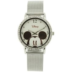 Disney Mickey Mouse Character Print Stainless Steel Bracelet Watch ($26) ❤ liked on Polyvore featuring jewelry, watches, relógio, bracelets, disney, bezel jewelry, watch bracelet, buckle jewelry, mickey mouse jewelry and bracelet watch
