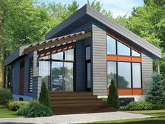 Modern Houses Discover Plan Contemporary Vacation Getaway Modern House Plan gives you one bed and just over 800 square feet of living space. Ready when you are. Where do YOU want to build? Contemporary Style Homes, Contemporary Cottage, Modern Modular Homes, Small Contemporary House Plans, Contemporary Design, Prefab Modular Homes, Modern Cottage, Midcentury Modern House Plans, Small Prefab Cabins