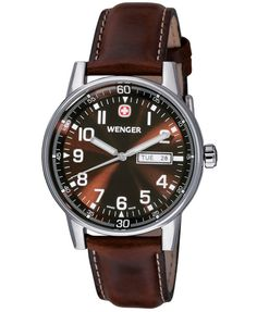 98e997d7152 Special Offers Available Click Image Above  Wenger Mens Commando Xl  Stainless Watch - Brown Leather Strap - Brown Dial - 70162