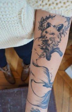 Fuchs Tattoo Unterarm Frau