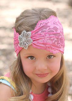 Headband - vinchas - Encaje rosado con un lindo aplique en plateado