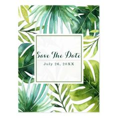 #savethedate #postcards - #Tropical Leaves Hawaiian Wedding Save the Date Postcard