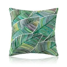 American Pastoral Simple Cotton Linen Plants Watercolor Printing Sofa Pillow Monstera Pattern Cushions