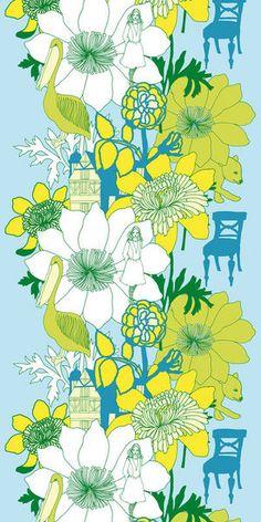 marimekko garden floral pattern aqua turquoise teal green lime chartreuse