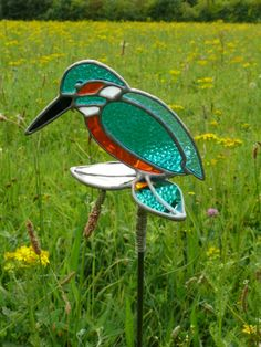 Kingfisher garden Stake made in stained glass. Approx.18cm x 10cm. £40