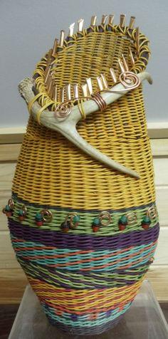 GOLD Antler Basket, Tower, copper bling, beads, J Choate Basketry