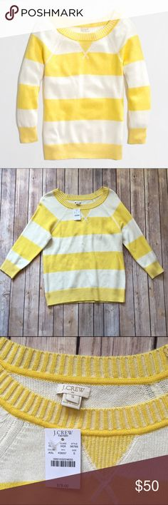J. Crew Yellow Stripe Plaited Wool Sweater This J. Crew factory Yellow and white stripe plaited sweater is absolutely gorgeous and perfect for the cooler weather! 3/4 sleeves, boatneck, rib trim at neck, cuffs and hem. Hits at hip. 37% viscose, 35% nylon, 28% merino wool. Brand new with tags!  🌟SUGGESTED USER 🚫NO TRADES 🚫NO MODELING ✅DOG FRIENDLY 🐶, 🚭 SMOKE FREE HOME ✅I 💗 REASONABLE OFFERS 🔵 PLEASE USE OFFER BUTTON!  ❓ASK IN THE COMMENTS! J. Crew Sweaters