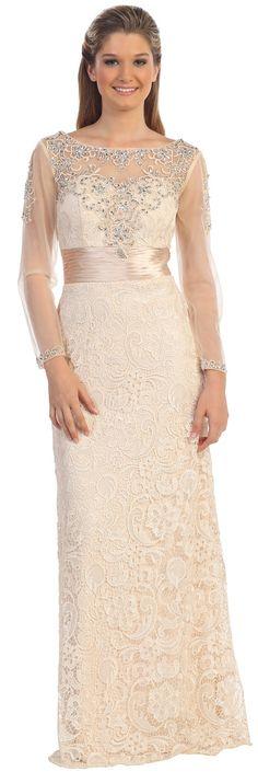 Beige Lace Long Sheer Sleeves Mother of Bride/Groom Dress #discountdressshop #lace #beige #sheer #longsleeves #formalwear #formal #weddings