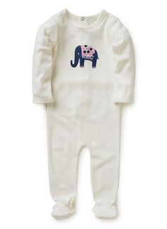 100% cotton jumpsuit with feet and snap closure at centre back and flap. Features hand appliqued/printed front elephant