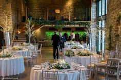 A magical 'Winter Wonderland' at Priston Mill, created by top Bristol Wedding florists & stylists, T. Christmas Wedding Flowers, Tythe Barn, Bridesmaid Duties, Stone Barns, Florists, Wedding Events, Wedding Ideas, Twinkle Lights, Table Centerpieces