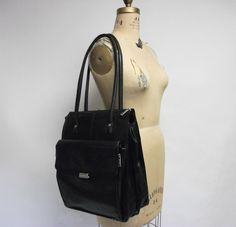 Black Leather Laptop Tote Briefcase #BusinessCase