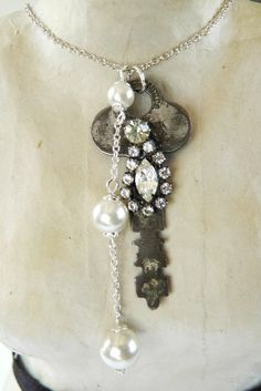 Vintage key necklace handmade upcycled one of by VintageValleyGirl, $25.00