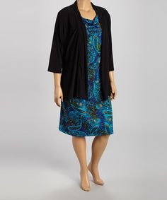 Another great find on #zulily! Blue & Black Paisley Cowl Neck Layered Dress - Plus by DJ Summers #zulilyfinds