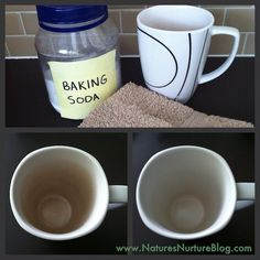 Get rid of your old coffee stains with this simple solution. Cleaning Coffee-Stained Mugs via Nature's Nurture