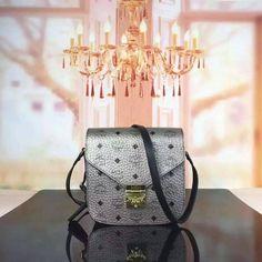 MCM Small Patricia Visetos Shoulder Bag In Silver
