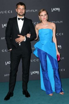 Luxe Red Carpet: LACMA Art + Film Gala 2015 | Diane Kruger in Monique Lhuillier blue jumpsuit | The Luxe Lookbook
