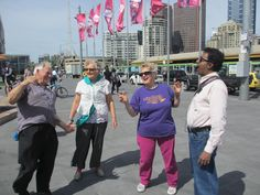 Federation Square Laughter Club, Lynette and John Mitchell leading the session on19 October 2014