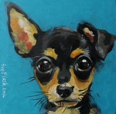 "ORIGINAL PAINTING Acrylic Board 4""X4"" ART  DOG - Chihuahua - 2016 by Sue Flask #Miniature"