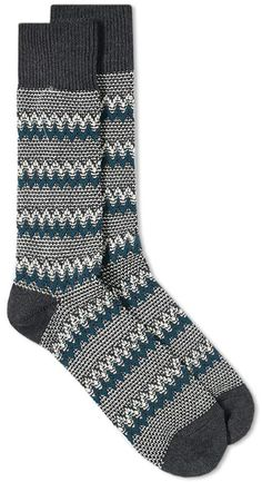 Anonymous Ism Anchor Jacquard Crew Light Blue New Original Made In Japan Socks