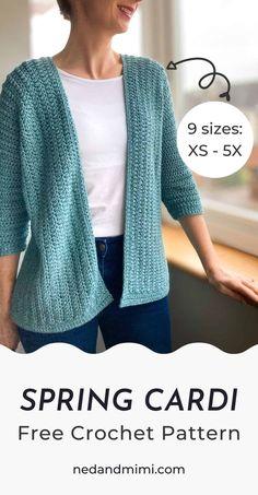 Gilet Crochet, Crochet Coat, Crochet Clothes, Crochet Sweaters, Knit Cardigan Pattern, Crochet Cardigan Pattern Free Women, Single Crochet Stitch, Simple Crochet, Easy Crochet Shrug