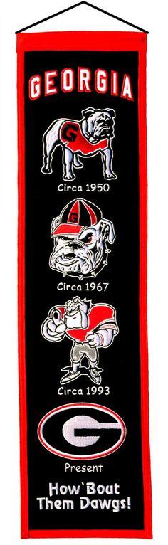 """Georgia Bulldogs 8""""x32"""" Wool Heritage Banner"""