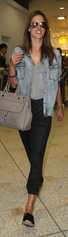 Who made  Alessandra Ambrosio's denim button down shirt and black shoes that she wore in  Sydney?
