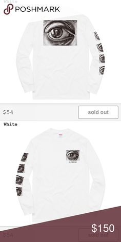 M.C. Escher Eye L/S Tee All cotton classic Supreme long sleeve t-shirt with printed graphics on left chest, back and right sleeve. Artwork by M.C. Escher Supreme Tops Tees - Long Sleeve