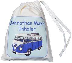 Personalised Blue Camper Van - Asthma Inhaler & Spacer bag - XS drawstring EMPTY